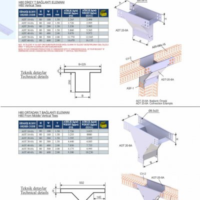 10_H80_K Series Cable Trays Vertical Tees & From Middle Vertical Tees