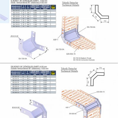 12_H50_K Series Cable Trays Insıde & Outside Vertical 90° Economic Bends (Fixed)