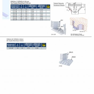 15_H100_K Series Cable Trays Tee Coupler Branching & 90° Coupler Branching