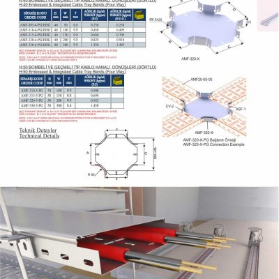 2 Embossed & Integrated Cable Trays Four Way Crossing Bends
