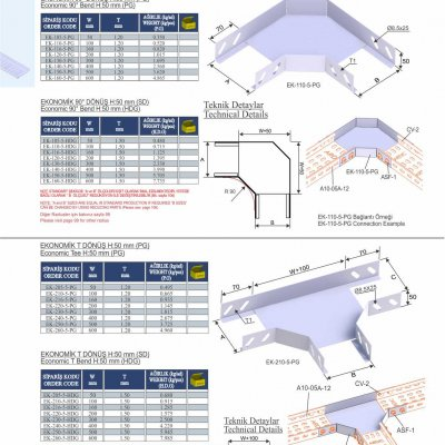 3_H50_K Series Cable Trays Economic 90° Bends & Economic T Bends