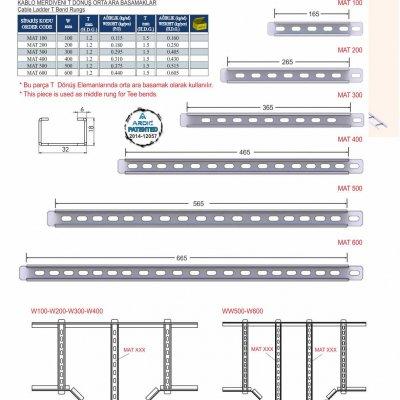 5_M Series Cable Ladder T Bend Rungs
