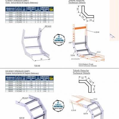 6_H50 M Series Cable Ladder Inside & Outside Vertical Bends  (Fixed)