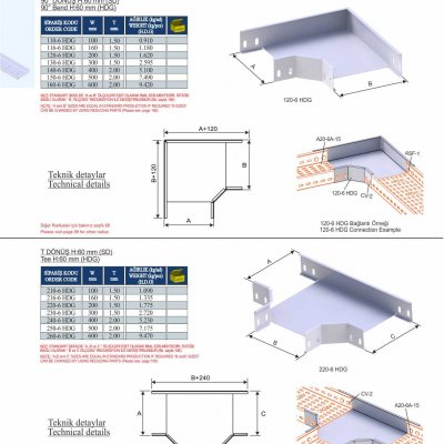 6_H60_K Series Cable Trays HDG Series  90° Bends & Economic T Bends