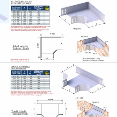 6_H80_K Series Cable Trays HDG Series  90° Bends & Economic T Bends