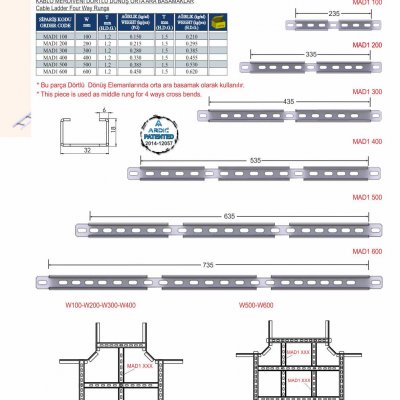 6_M Series Cable Ladder Four Way Crossing Rungs